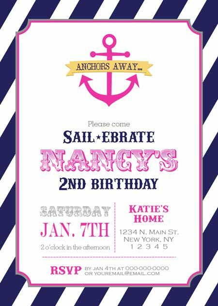 Birthday Party Invitation Nautical Anchor for by BellePrintables