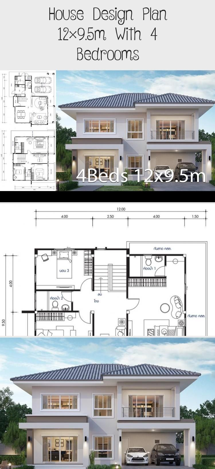 House Design Plan 12x9 5m With 4 Bedrooms Home Design With Plansearch Dreamhouseplans Housep In 2020 Home Design Plans Affordable House Plans Victorian House Plans