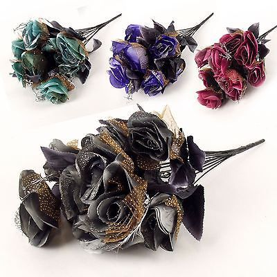 12 head dark gothic #roses with #tulle and glitter artificial flower #bouquet,  View more on the LINK: 	http://www.zeppy.io/product/gb/2/151868449053/