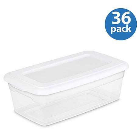 Sterilite 6 Quart Storage Box White Set of 36 Organize Office