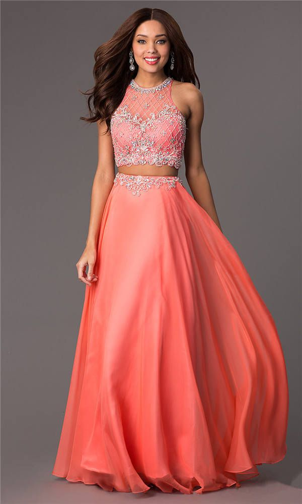 Beaded Coral Prom Dresses 2015