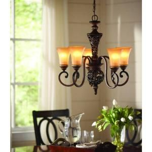 Hampton Bay 5 Light Caffe Patina Chandelier 17009 At The