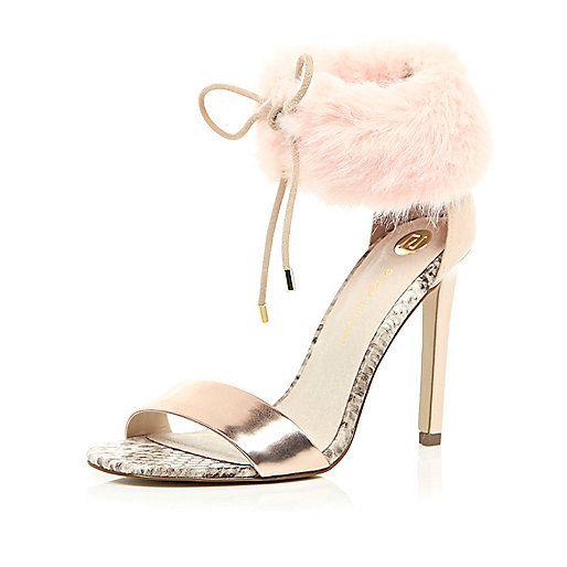 Light pink faux fur ankle strap heels - heeled sandals - shoes ...