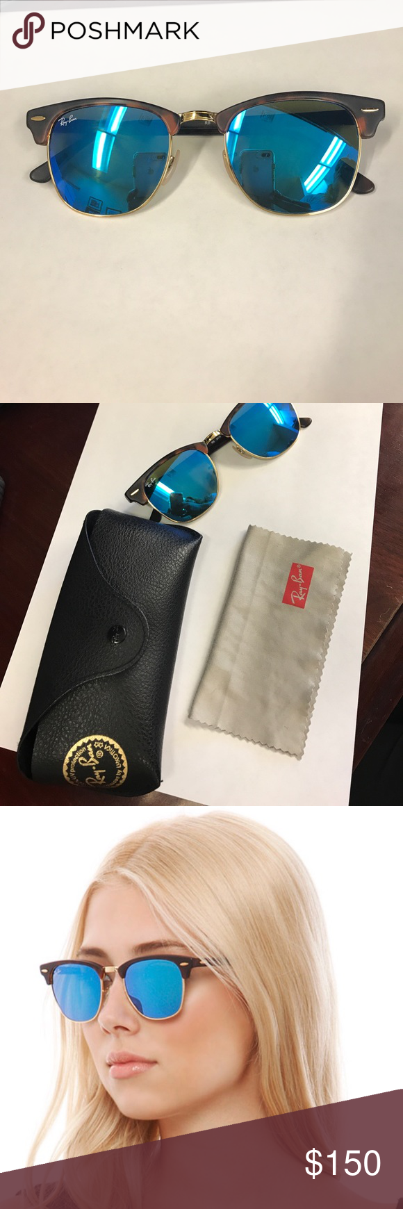 10a188bb46ed8d Ray-Ban Clubmaster Flash Lenses Ray-Ban Clubmaster Flash Lenses in Tortoise  Blue Flash