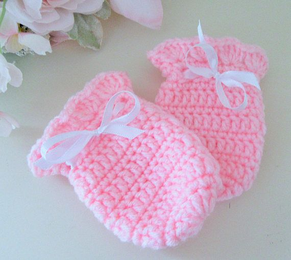 Pink Baby Mitts Crochet Baby Mitts Infant Gloves Newborn
