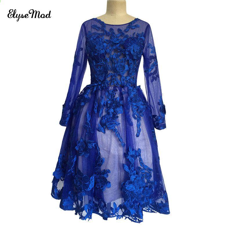 bdaf2b33da Eleganckie Sukienki Koktajlowe Royal Blue 2017 Wieczorne Party Kolano  Długość Koronkowe Aplikacje Sukienki Homecoming