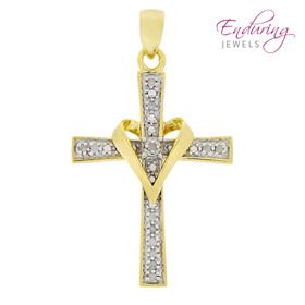 Two-Tone Sterling Silver Diamond Heart Cross
