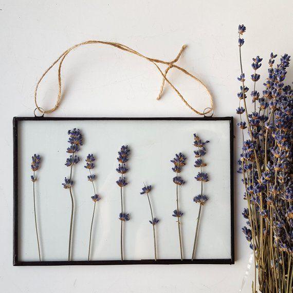 Gepresster Lavendelblumenrahmen / Gepresster Blumenrahmen / Trockenblume zwischen Glas hängen / Geschenk für Mutter