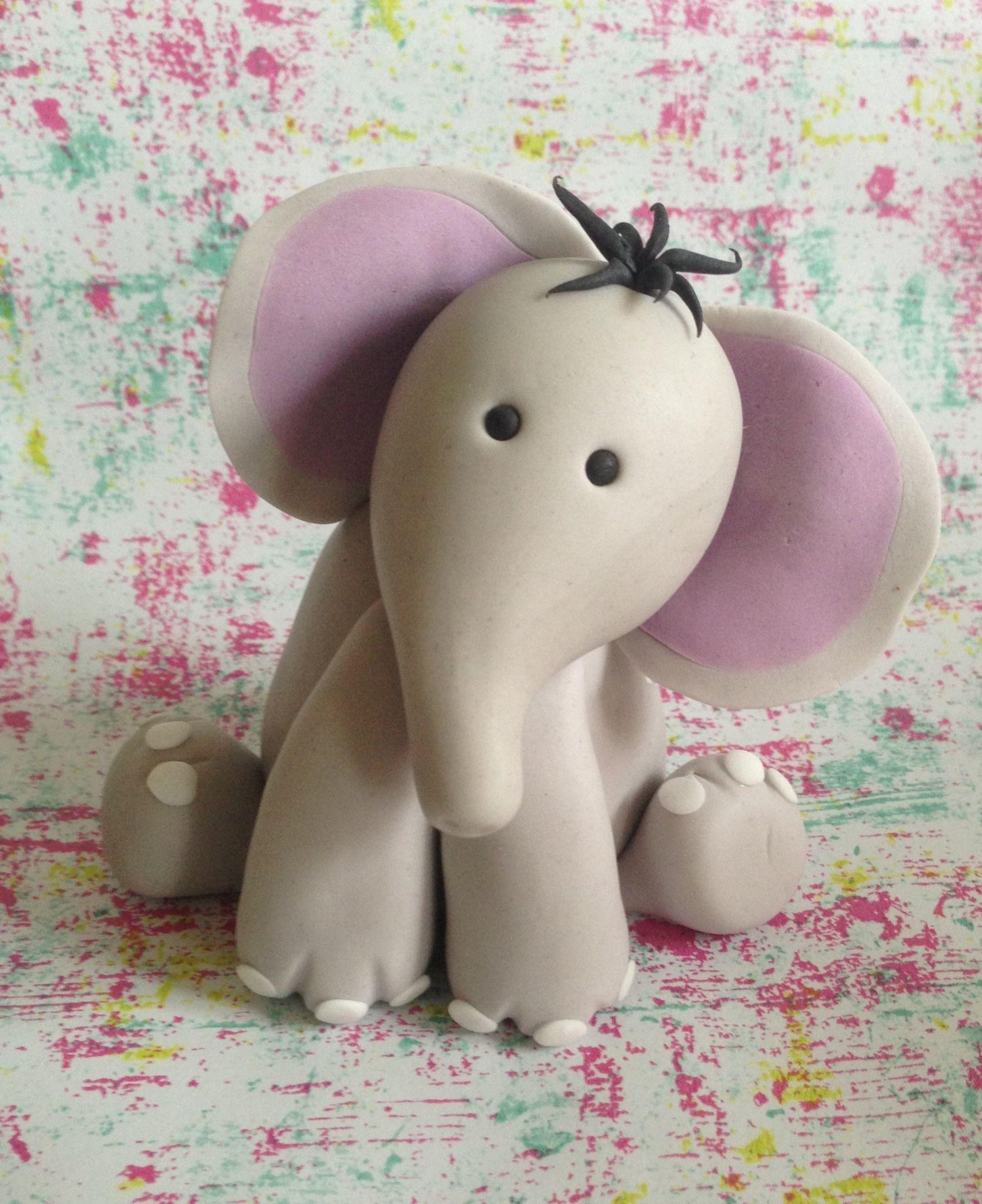 3D Figures - Gum paste baby elephant cake topper