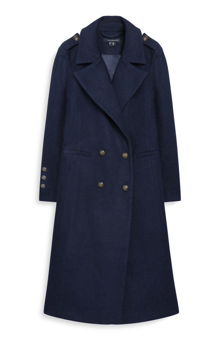 Primark - Manteau bleu marine long style militaire   moda pomysly ... 22bb8ed920a