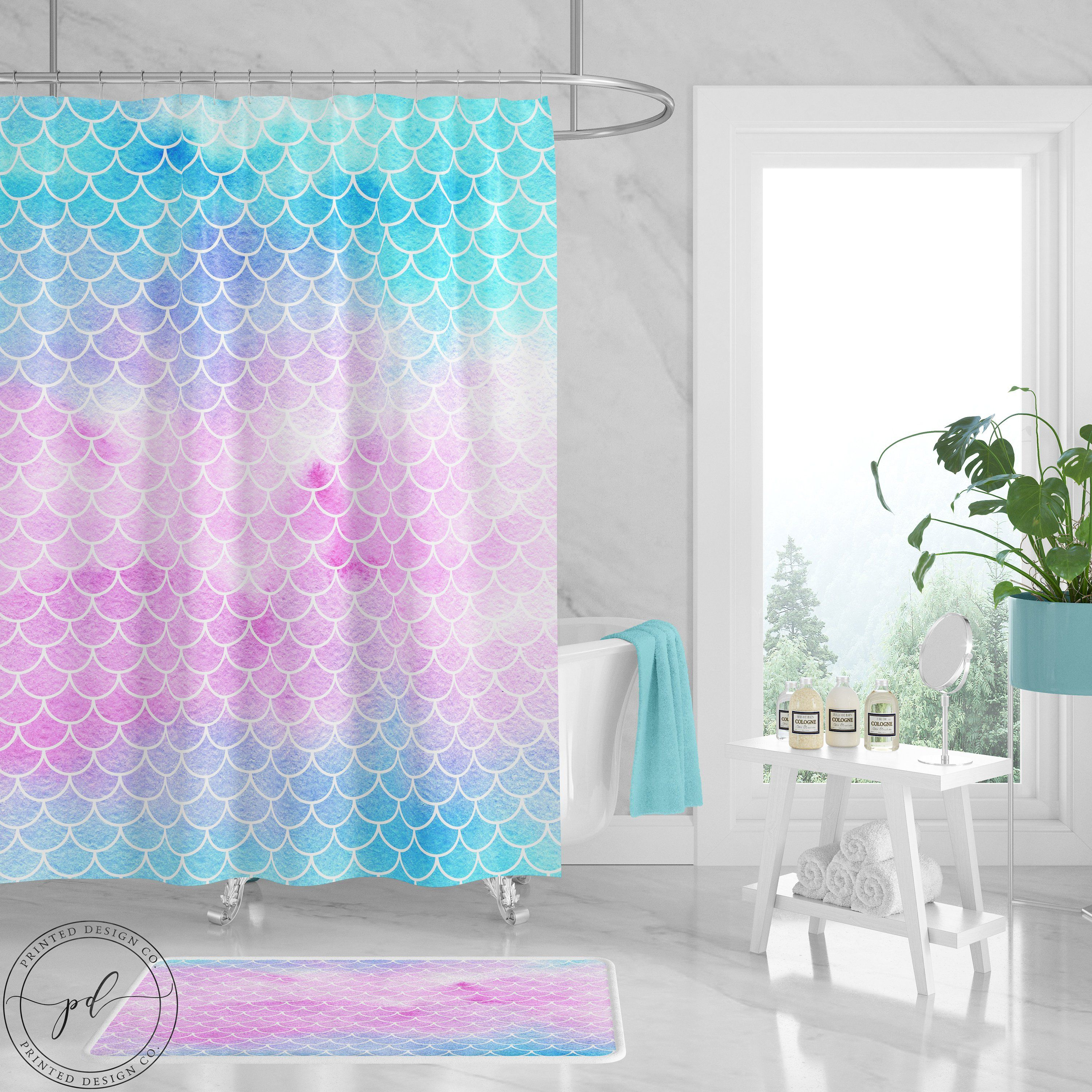 Mermaid Scale Shower Curtain Mermaid Shower Curtain Watercolor Mermaid Scales Pink Teal Blue