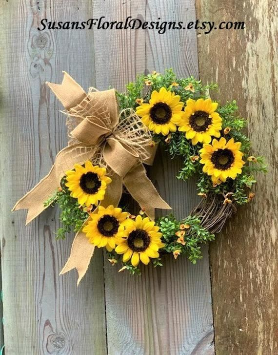 Photo of SPRING DOOR WREATH~Boxwood Door Wreath~Sunflower Door Wreath-Free Shipping-Burlap Wreath Bow~Spring Wreaths for Front Door~Farmhouse Wreath