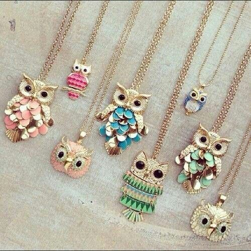 I want these!  Owl necklaces