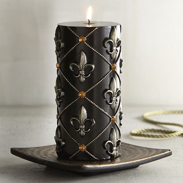 Pier 1 Imports Fleur De Lis 3x6 Unscented Pillar Candle ($12) ❤ liked on Polyvore featuring home, home decor, candles & candleholders, black, black candlestick holders, black home decor, fleur de lis home decor, black pillar candle holders and column candles