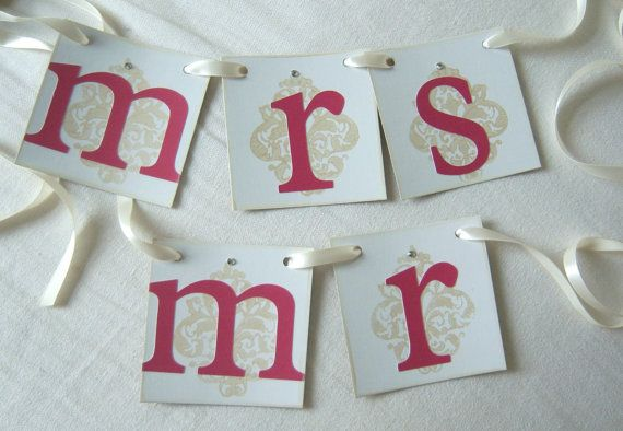 Mr and Mrs Wedding Banner Mr Mrs wedding signs by lolaandcompany