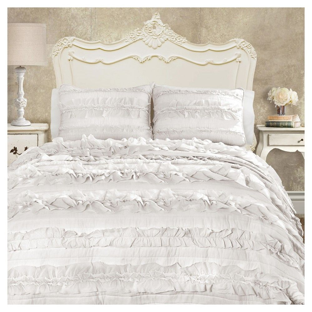 Lush Decor Belle Bedding Belle Quilt 3 Piece Set Full Queen White  Lush Décor  Belle