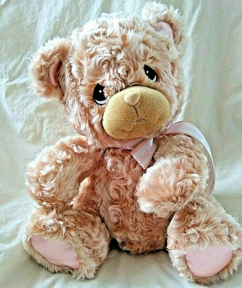 Precious Moments Teddy Bear Plush Animal 2001 Tan Peach Curly Hair Bow Caring Enesco Teddy Bear Plush Plush Animals Bear Plush