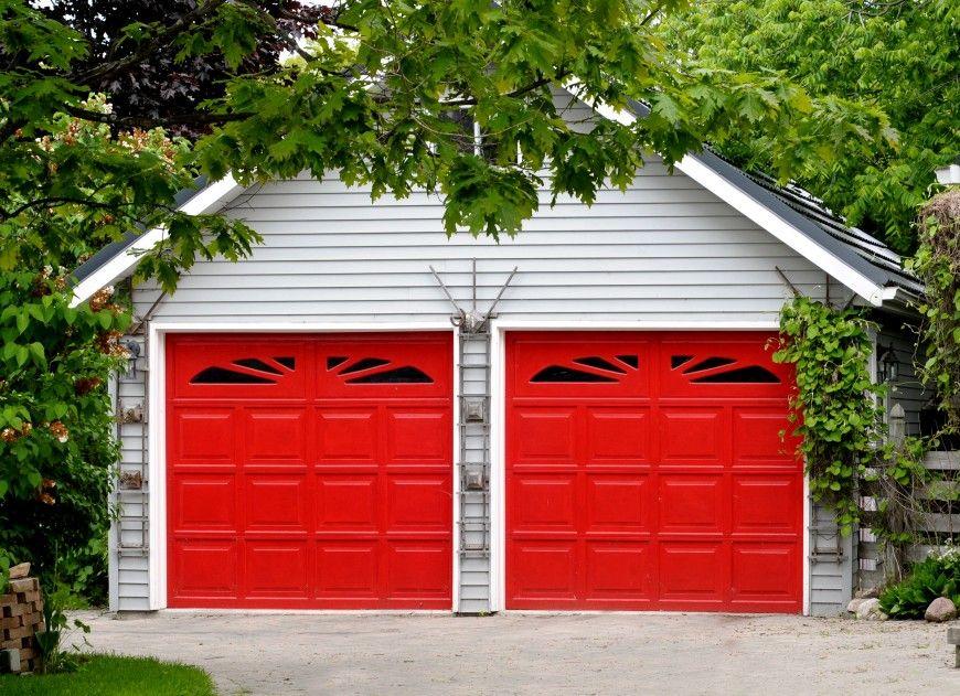54 Cool Garage Door Design Ideas On Houses With Pictures Garage Doors Red Garage Door Garage Door Colors