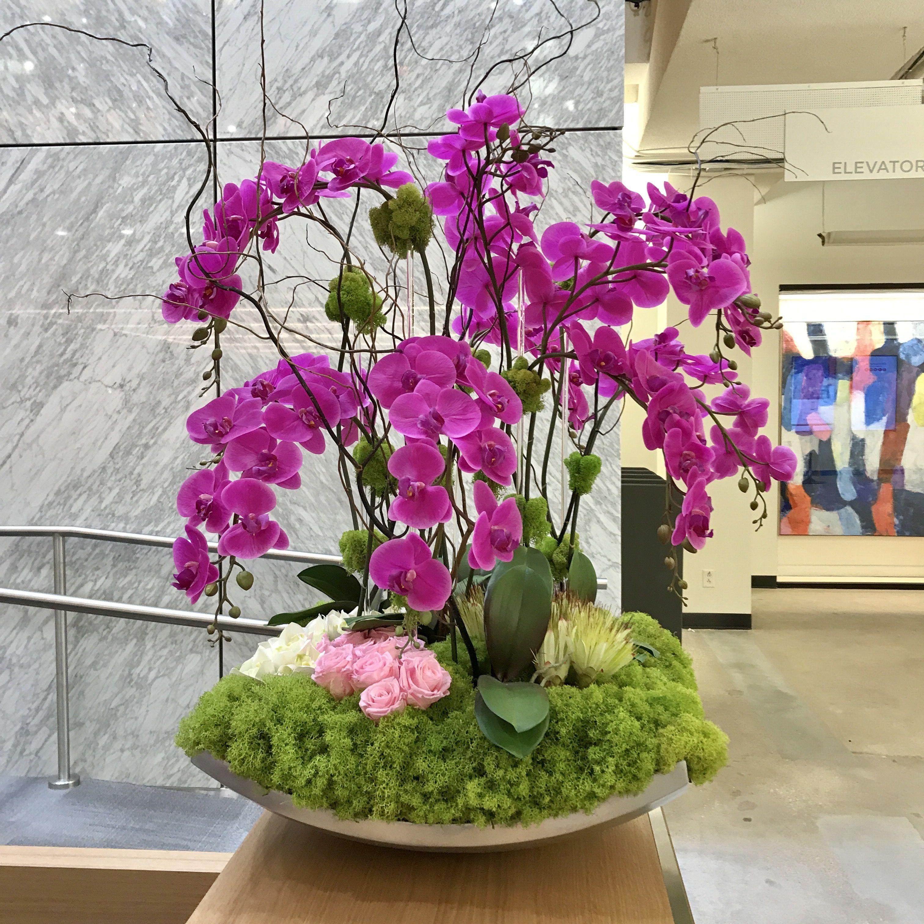 Pink Orchid Floral Arrangement Orchid Flower Arrangements Flower Arrangements Simple Large Floral Arrangements