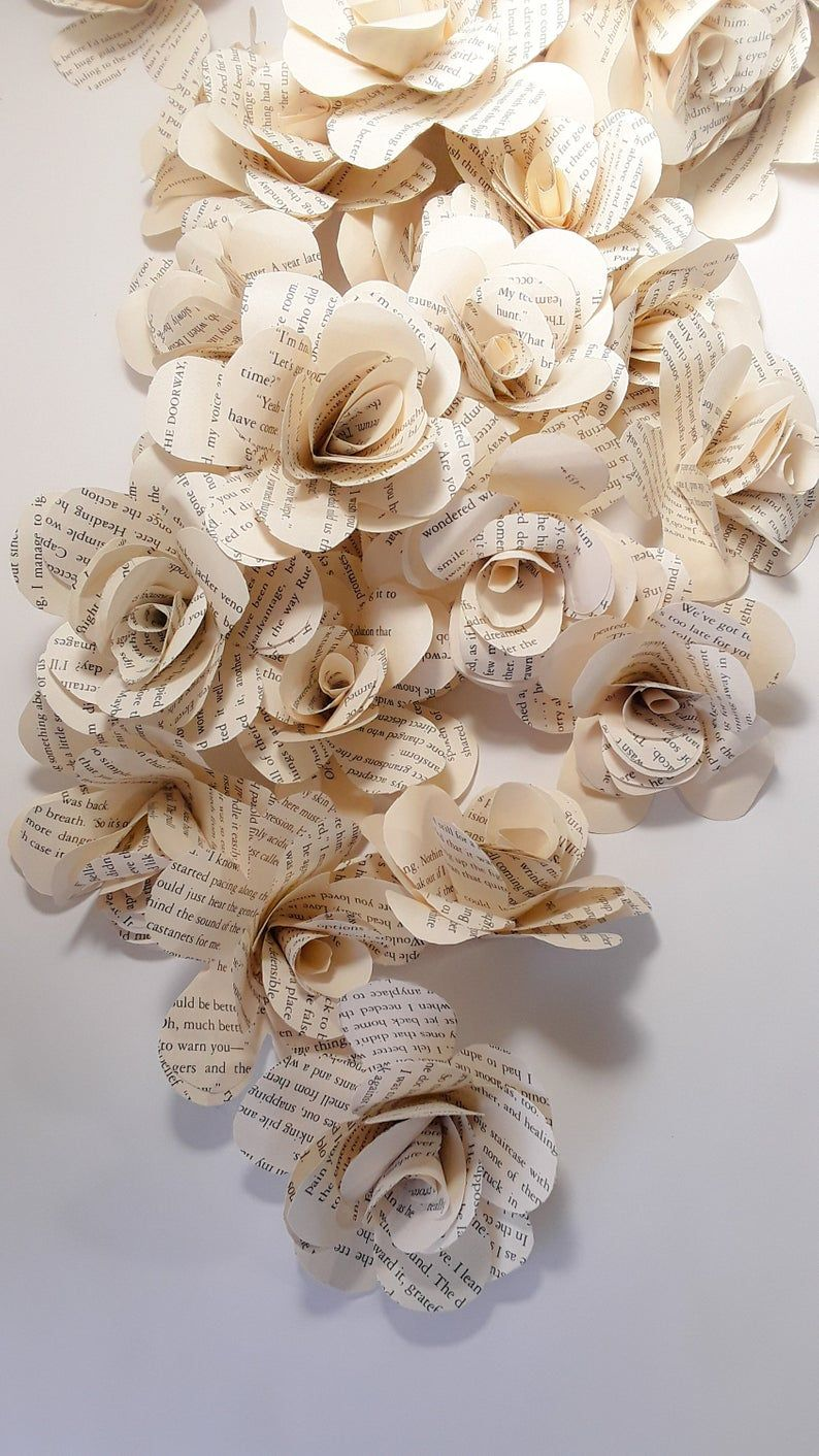 Wedding Flowers Paper Flowers Literary Themed Wedding Book Page Roses