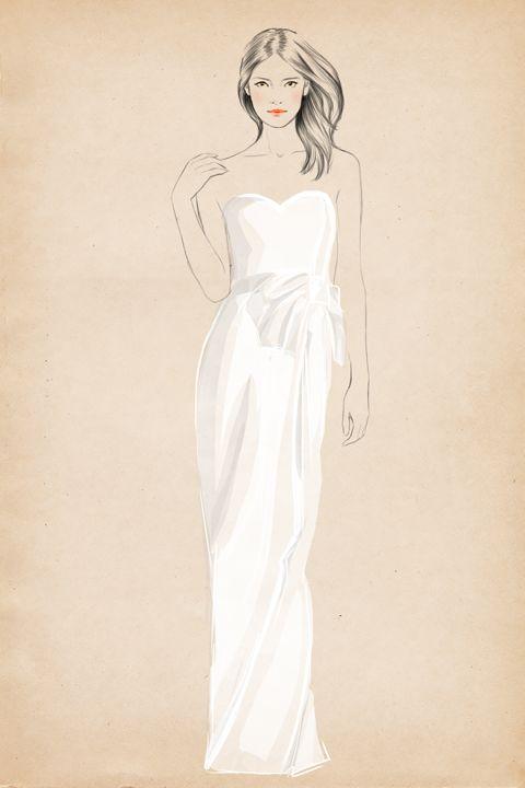 sweetheart at Matha Stewart Weddings by Sandra Suy - Pencil, Watercolor illustration. Fashion, Beauty
