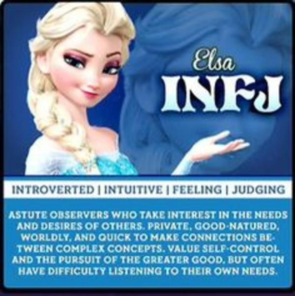 Elsa: INFJ   Myers-Briggs Type Indicator (MBTI)