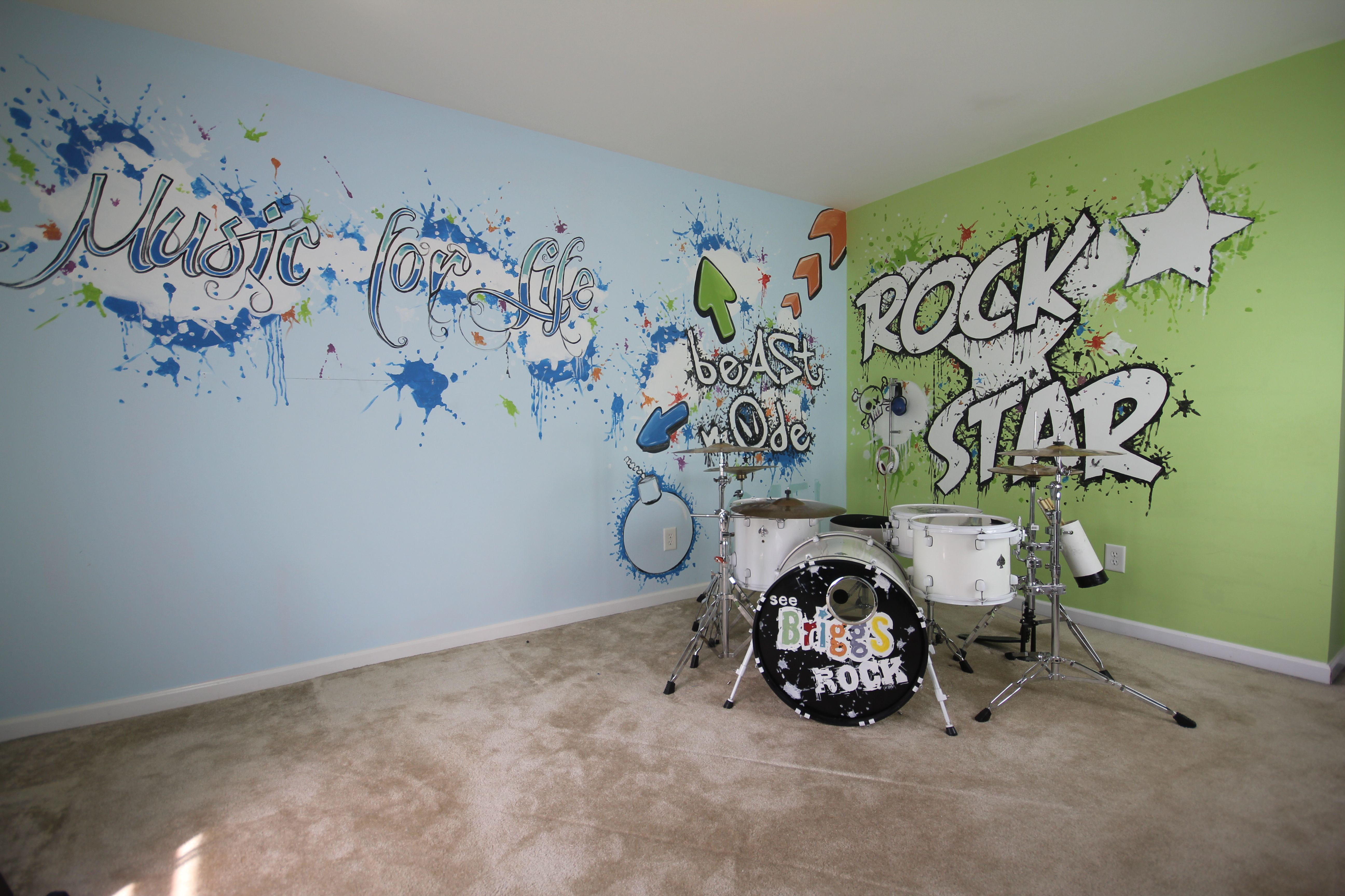 teen music room - Google Search | Ky | Pinterest for Cool Wall Designs With Paint  587fsj