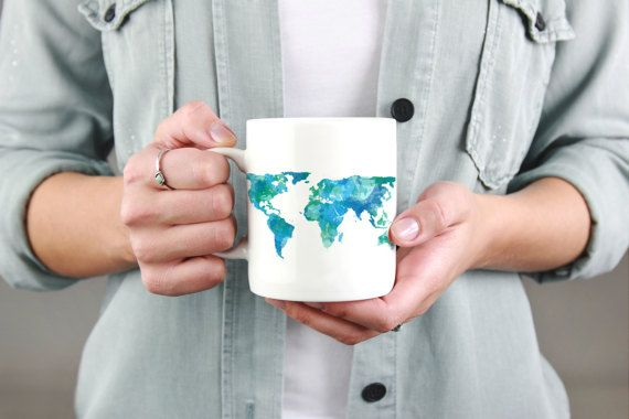 World map mug travel mug world map watercolor mug travel gift for this listing is for a coffee mug including my original artwork the artwork features a gumiabroncs