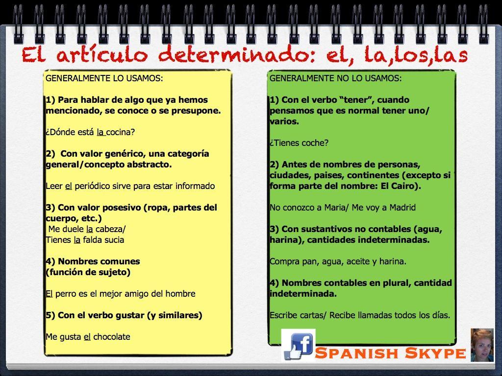 Uso Del Artículo En Español Articulo Determinado Aula De Español Español