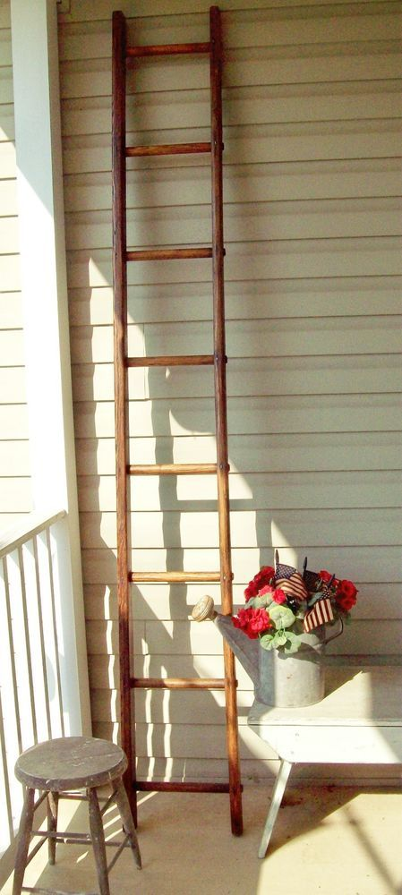 Authentic Vintage Apple Orchard Ladder Refinished 7 Ft 10 In Tall Vintage Apple Home Decor Wooden Ladder