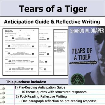 tears of a tiger anticipation guide reflection ela resources rh pinterest com Tears of a Tiger Characters Tears of a Tiger Movie