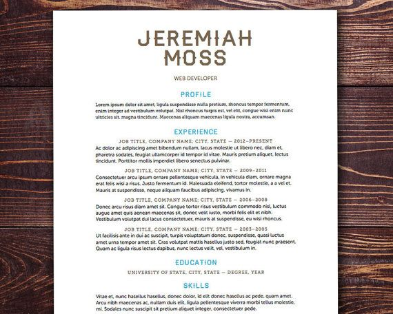 The Moss Resume Template Design Instant Download by itsprintable