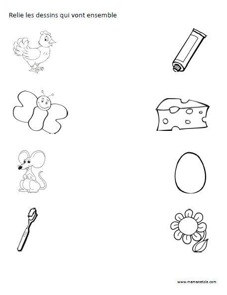 Relie les dessins qui vont ensemble - Activité à imprimer ...