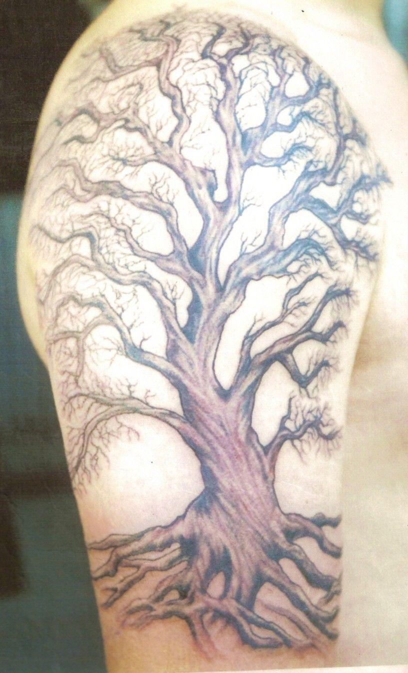 Fashion week Tattoos Tree for men on shoulder for girls