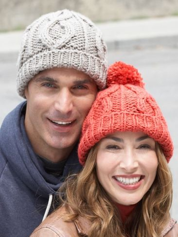 defe322f282a0a Free Pattern - Get cozy in these classic #knit Cable Hats. Shown in Bernat  Softee Chunky.
