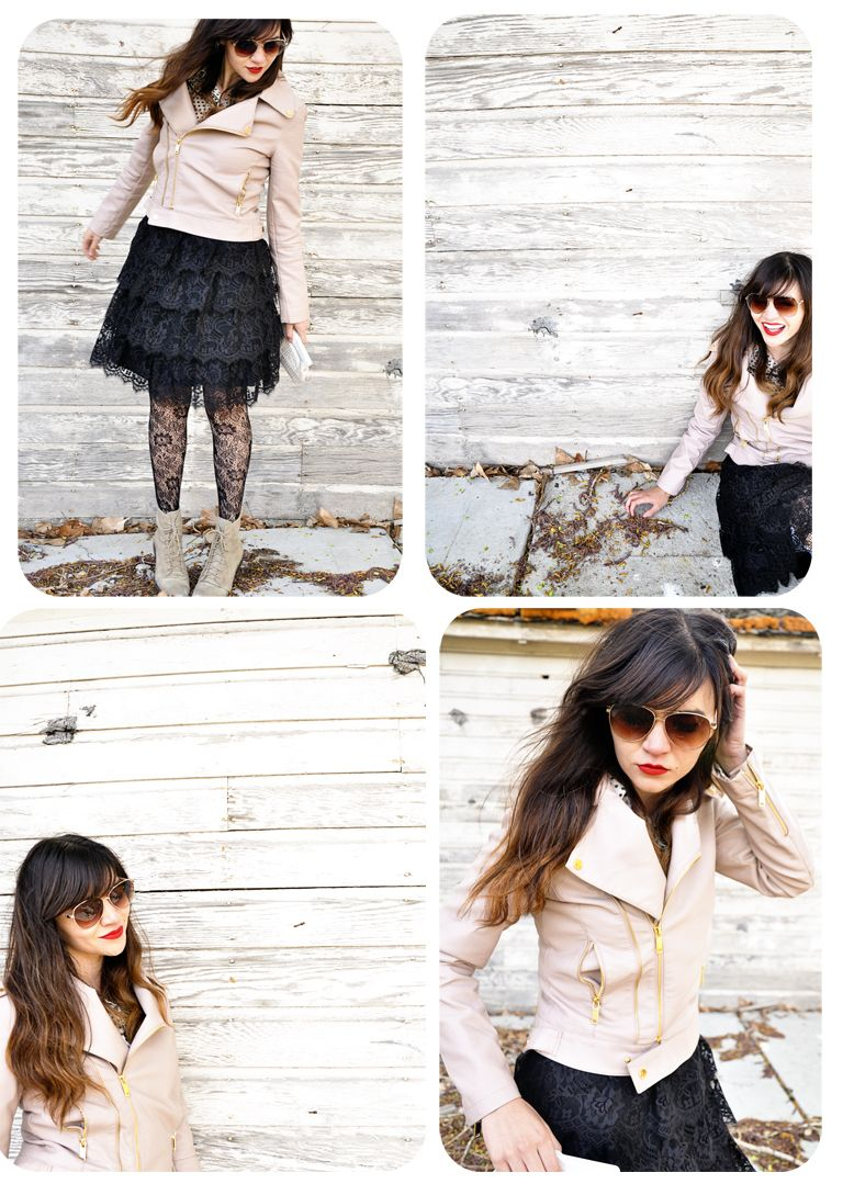 Lace dress jacket  nude shoes  lacy tights  black lace dress  nude leather jacket