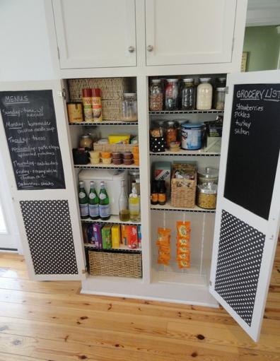Chalkboard walls inside cabinet for grocery list, ect.