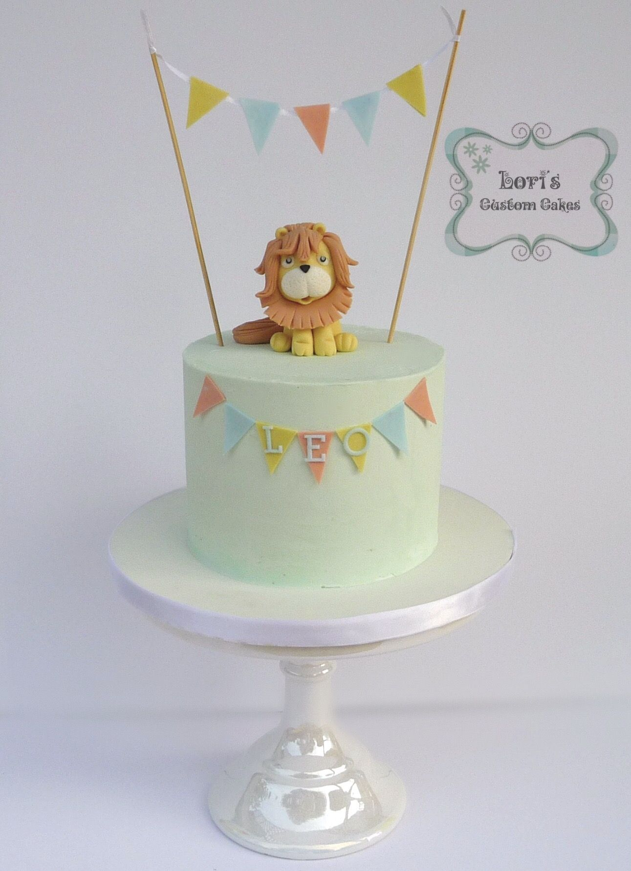 Little lion 1st birthday cake smash cake Loris Custom Cakes