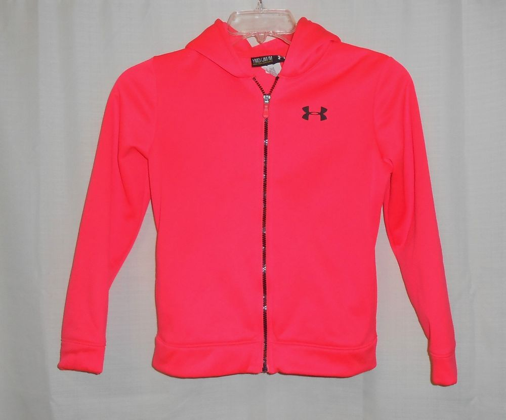 fd1a35ea3 UNDER ARMOUR Hoodie Girls Size YMD Youth M Full Zip-Long Sleeve Neon  Red/Orange #UnderArmour #Hoodie