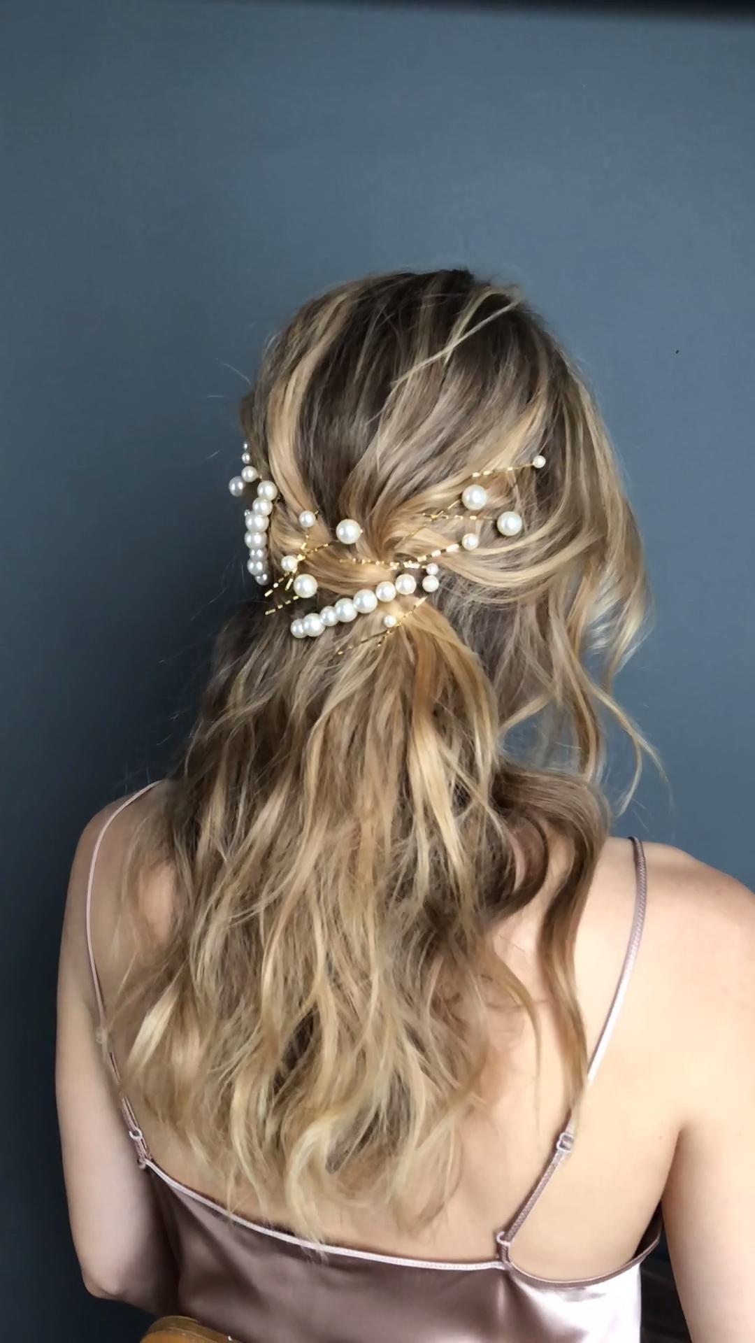 DIY hair: pearls on pearls! -   16 hair Half Up Half Down homecoming ideas