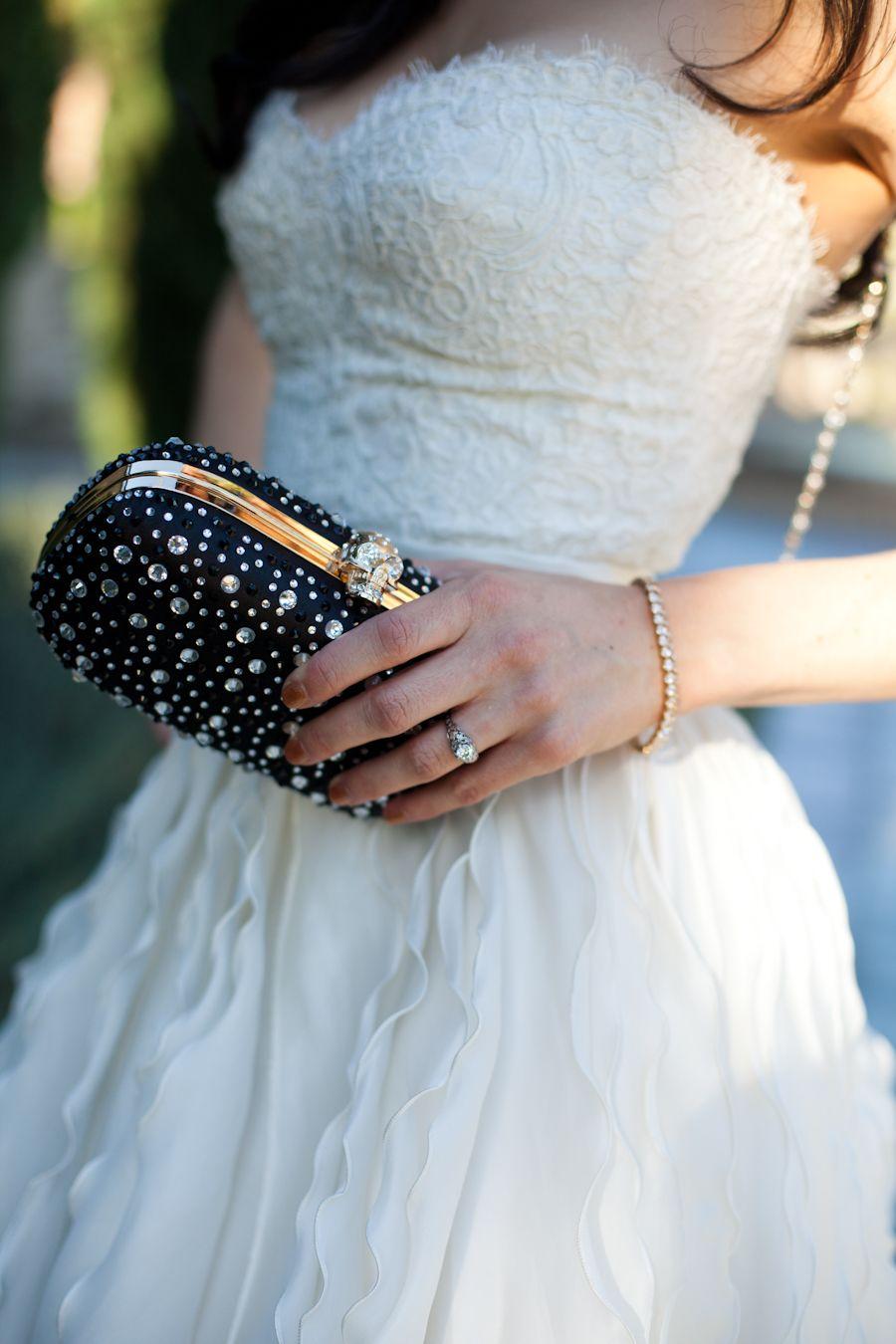 Monique Lhuillier wedding gown dress beverly hills skeleton clutch ...