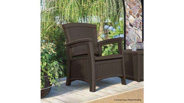Suncast Elements Club Chair With Storage Java Patio Storage Deep Seating Chair Outdoor Patio Furniture Sets