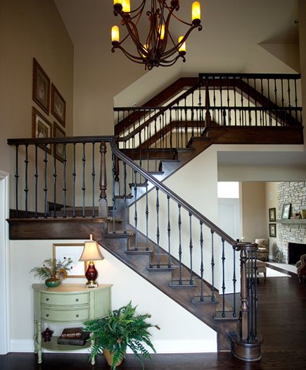 Best This Foyer Stairwell Was Completely Remodeled Yellow Oak Handrail And Flooring Were Refinished 400 x 300