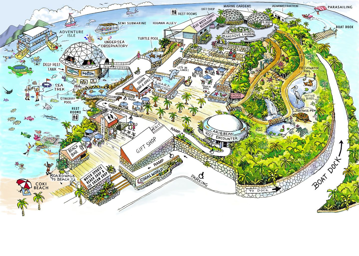 coral world ocean park map