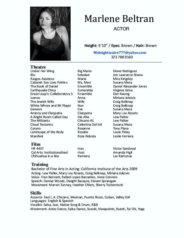 Actor Resumes  Acting    Acting Resume Template High