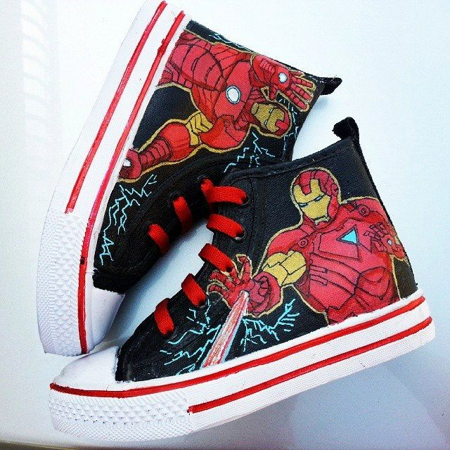 Captain America & Iron Man hand painted shoes.   Painted