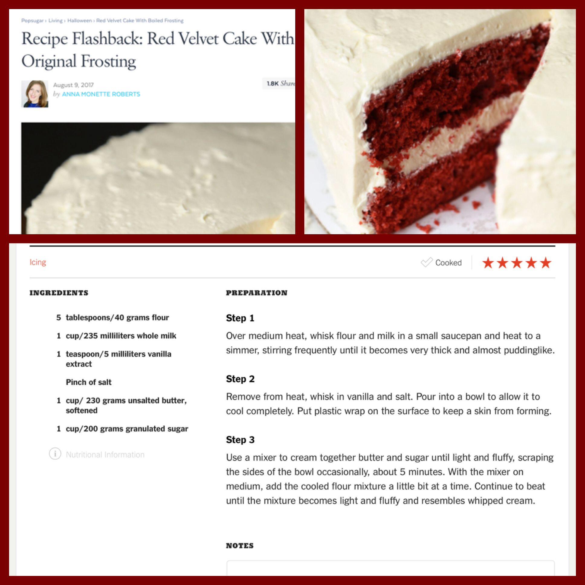 Original Red Velvet Cake Frosting Red Velvet Cake Frosting Red Velvet Cake Sweet Treats