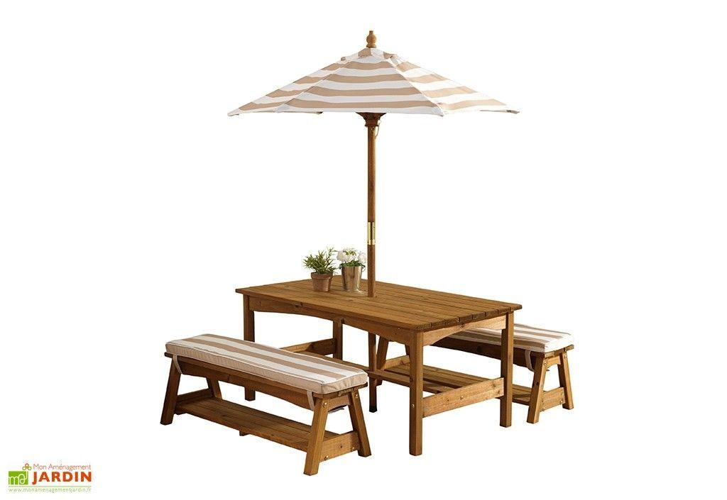 Salon de Jardin Bois pour Enfants : Table, Bancs, Parasol ...