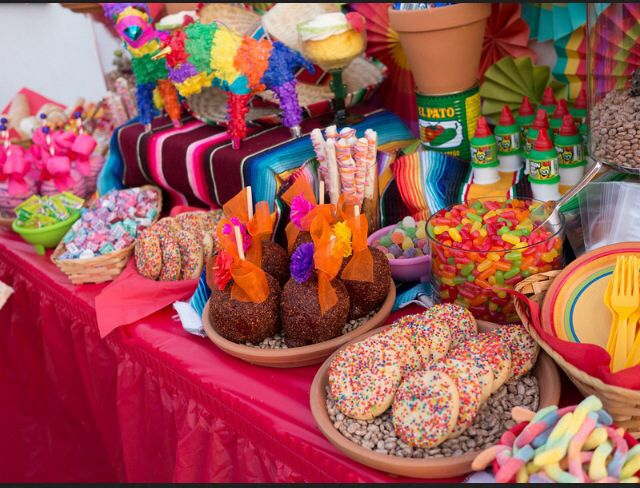 Fiesta Dessert Table By Sweet Rubia Mexican Birthday Parties Mexican Party Theme Fiesta Birthday Party