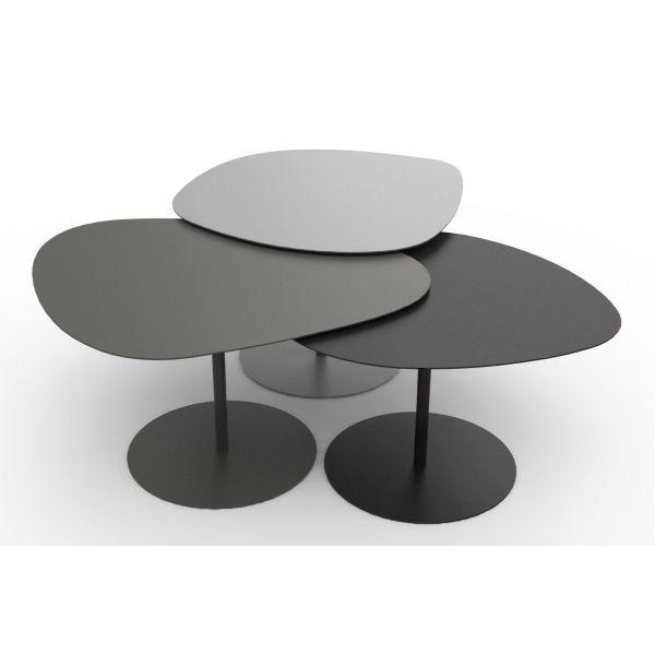 Set De 3 Tables Basses Galets Gigognes En Acier Matiere Grise Table Basse Gigogne Table Basse Galet Table Basse
